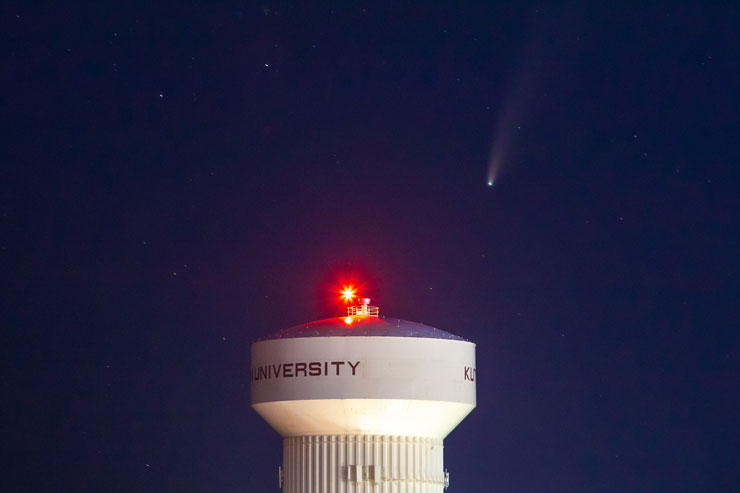 Neowise Comet in the night sky above the KU water tower.
