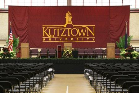 Picture of the stage set up for commencement