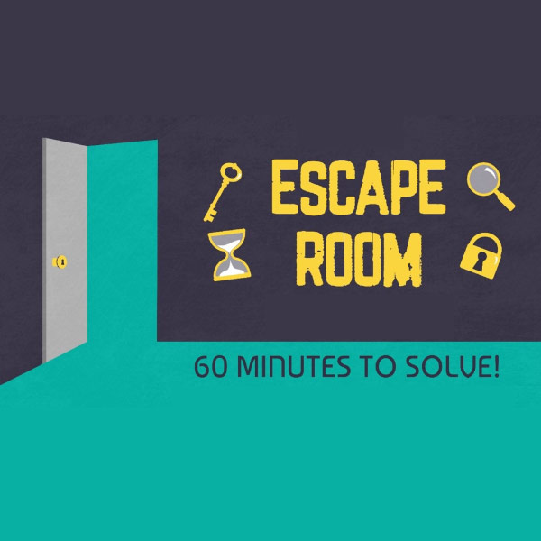 Navy blue and Light Blue background with the shape of a door and the words Escape room, 60 minutes to solve