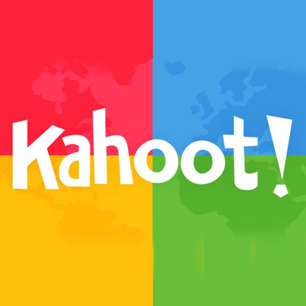 Kahoot on a red blue yellow green blocked background with a graphic at approximately 30 percent opacity showing through