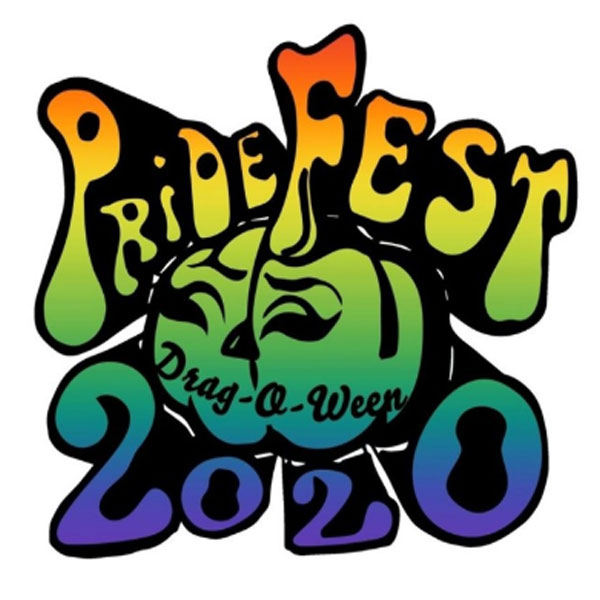 Logo for the Pride Fest 2020 the words pride fest over a jack-o-lantern the words drag-o-ween and 202 0 all with the colors of the rainbow overlaid
