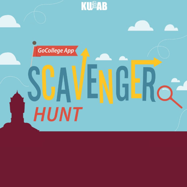 Illustration of a blue sky with white clouds on the top with a silhouette of the Old Main clock tower in maroon on the bottom with the words Kutztown University Activities Board sponsors GoCollege App Scavenger Hunt.