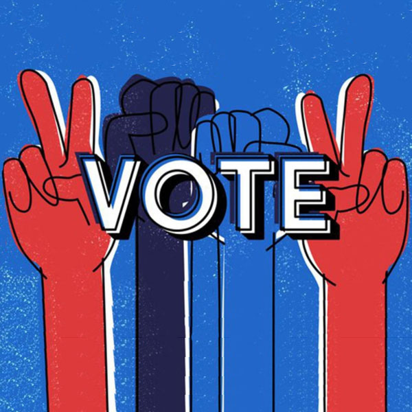 red white and blue designed graphic with the words 1.) register 2.) vote 3.) make a difference