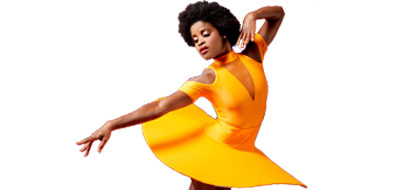 an African american dancer in a ballet pose wearing a yellow costume
