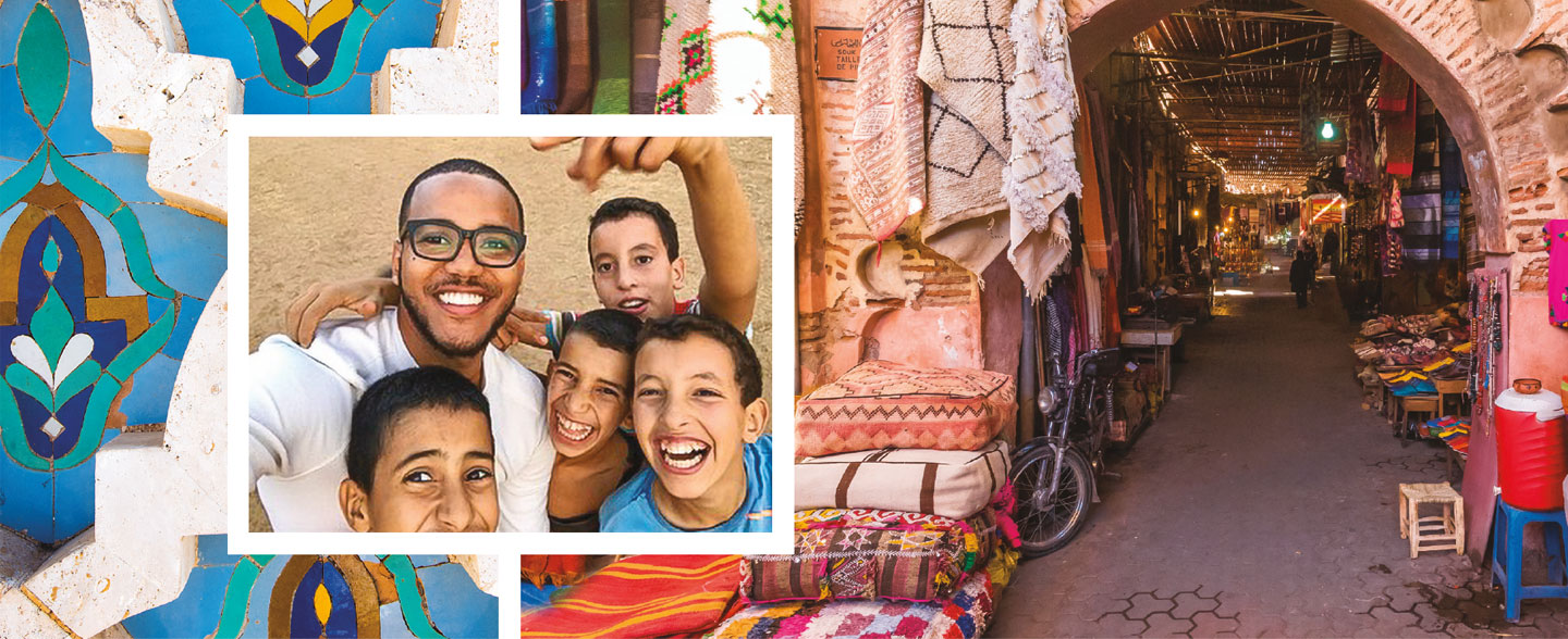 Yorman De La Rosa with school children from Morocco (inset) with a background of a moroccan shopping district and artwork