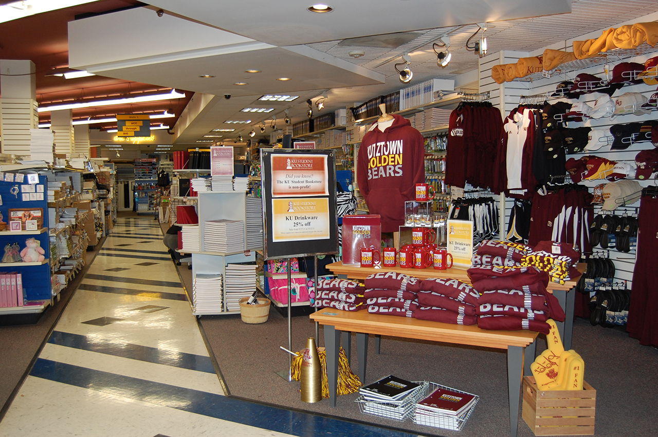 inside of the campus store with sweatshirts