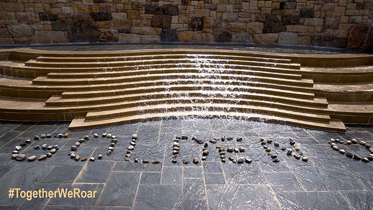 photo of the large fountain on alumni plaza with the word golden and a heart formed with rocks in the water