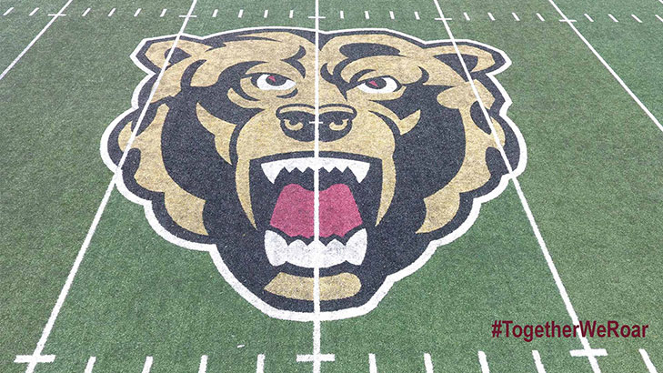 The golden bears athletics logo painted on the field of the football stadium