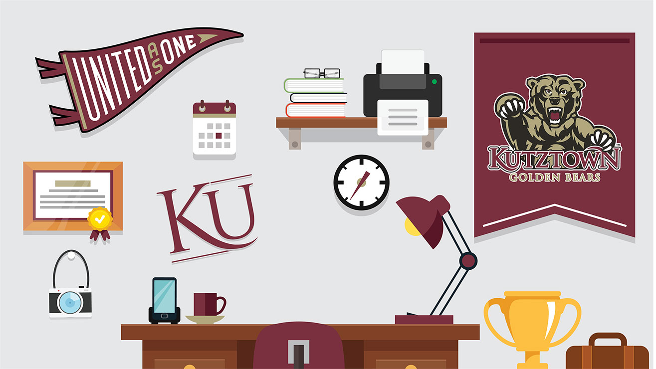 United as One represented in an illustration of a typical office setup with desk, lamp, shelf, and various wall decorations of KU branding